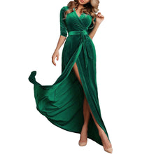Load image into Gallery viewer, Sexy Deep V Collar Plain Belted Slit Evening Dress