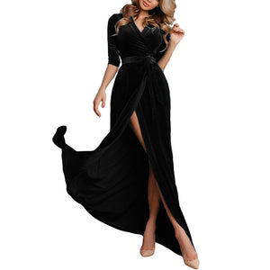 Sexy Deep V Collar Plain Belted Slit Evening Dress