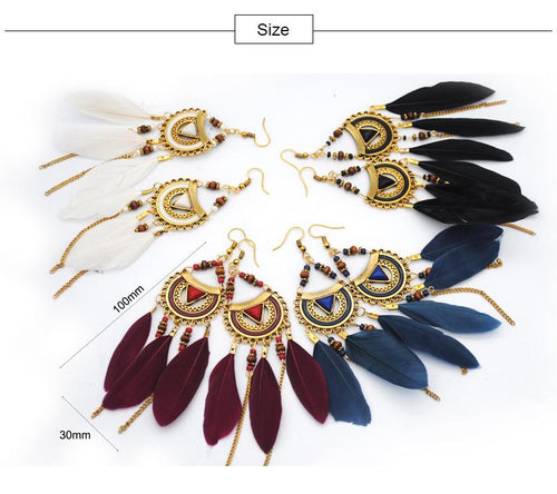 Fashion Bohemian Vintage Fringed Feather Earrings