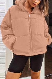 Fashion Long Sleeve Zipper Casual Winter Cotton Coat