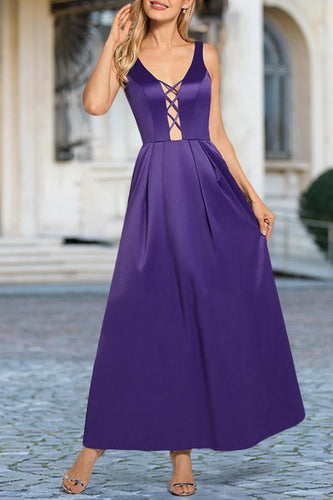 Elegant V Collar Sleeveless Plain Slim Evening Dress