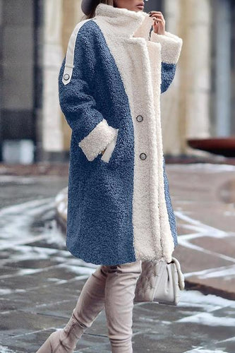 Winter Thick Color Contrast Fleece Sherpa Outerwear Coat