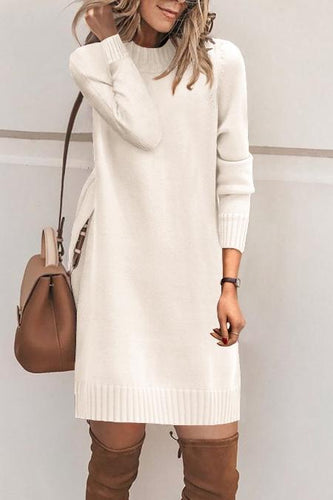 Fashion Plain Long Sleeve Casual Dress Sweater Dresses