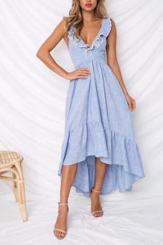 Sexy Deep V Collar Flouncing Striped Backless Irregular Vacation Dress