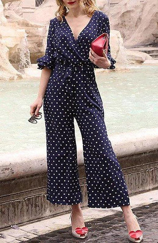 Sexy V Neck Polka Dots Jumpsuit