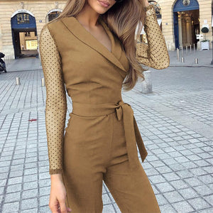 Fashion Lapel Long Sleeve Straight Jumpsuit