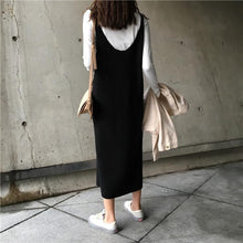 Load image into Gallery viewer, U-Collar Knitted   Mid-Length Sling Dress