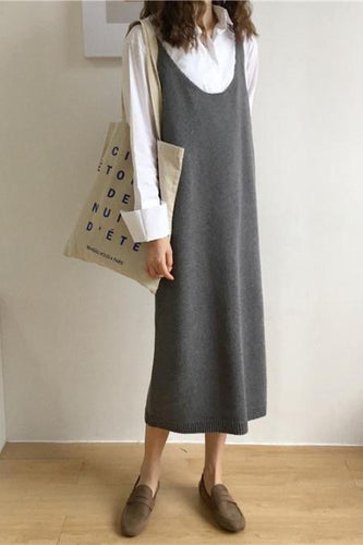 U-Collar Knitted   Mid-Length Sling Dress