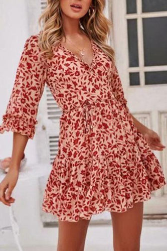 Fashion Deep V Collar Floral Printed Pagoda Sleeve Vacation Dress