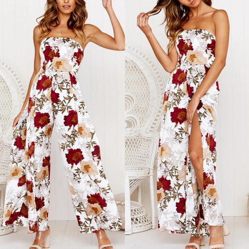 Summer Off The Shoulder Floral Print Sexy Wide Leg Jumpsuit