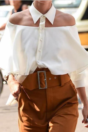Fashion Lapel Off Shoulder Loose Shirt