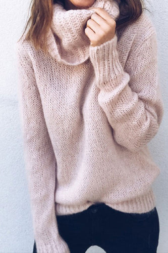 Sweet Plain High Collar Loose Soft Sweater