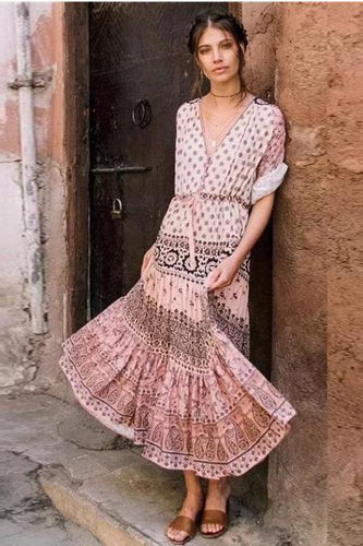 Fashion Bohemian Print V-Neck Dress