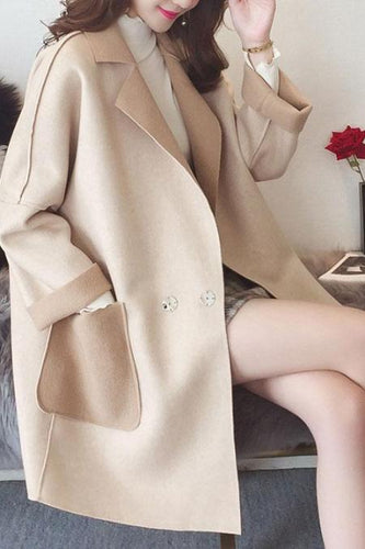 Winter Lapel Thichen Woolen Long Coat