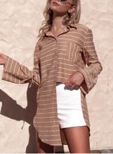 Load image into Gallery viewer, Bell Sleeves Loose Mid-Length Striped Irregular Shirt