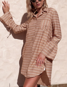 Bell Sleeves Loose Mid-Length Striped Irregular Shirt