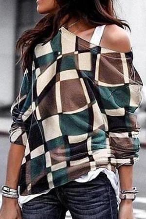 Fashion Off Shoulder Check Printed Loose Blouse