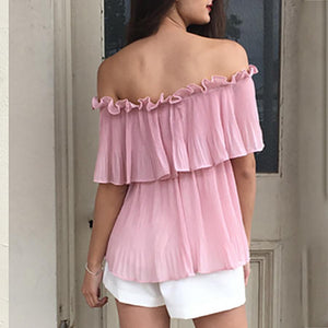 Sexy One-Shoulder Short-Sleeved Chiffon Shirt