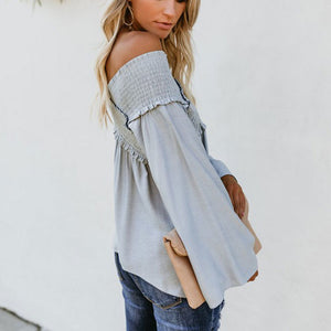 Fashion Cross Strap Plain Off Shoulder Blouse