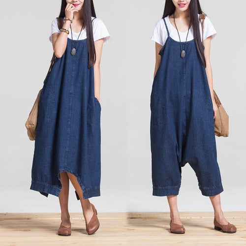 Casual Fashion Plain Oversize Wide-Leg Denim Jumpsuit