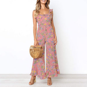 Bohemia Style Floral Printed Sleeveless Flouncing Jumpsuit