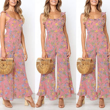 Load image into Gallery viewer, Bohemia Style Floral Printed Sleeveless Flouncing Jumpsuit