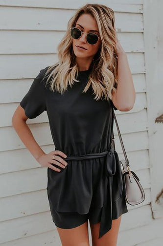 Fashion Round Collar Plain Belted Loose Jumpsuit