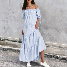 Load image into Gallery viewer, Fashion Elegant Off Shoulder Stripe Loosen Maxi Dress