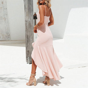 Sweet Plain Lace Border Asymmetric Backless  Vacation Dress