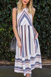 Sexy Halter Striped Loose Vacation Dress