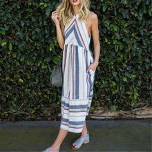 Load image into Gallery viewer, Sexy Halter Striped Loose Vacation Dress