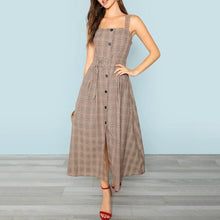 Load image into Gallery viewer, Waist Plaid Long Skirt Europe And America Explosion Style Panel Dress