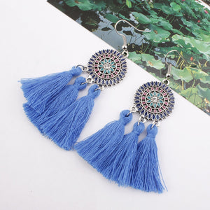 Arealook Bohemian Hollow Tassel Earrings Retro Creative Alloy Earrings