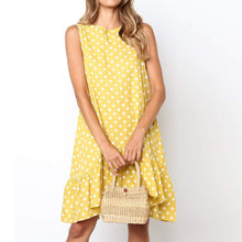 Load image into Gallery viewer, Round Neck Polka Dot Sleeveless Irregular Loose Dress