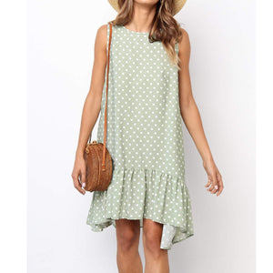 Round Neck Polka Dot Sleeveless Irregular Loose Dress