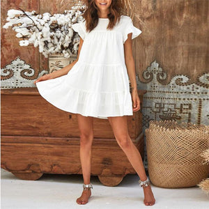 Round Neck Solid Color Cuff Flounce Decorated Dress