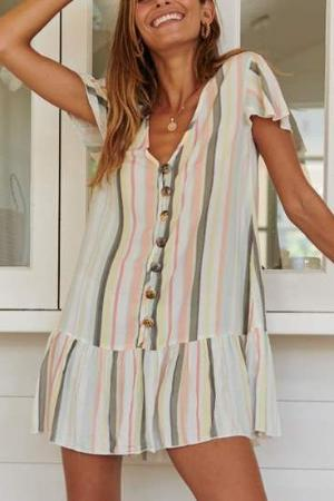 Fashion Color Stripe Print Vacation Mini Dress