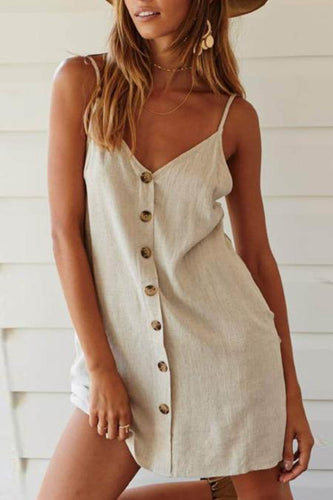 Hemp Sling Single-Breasted Mini Dress