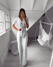 Load image into Gallery viewer, MODEYY Fashion V Neck Halflong Sleeve Pure Colour High-Waist Jumpsuit