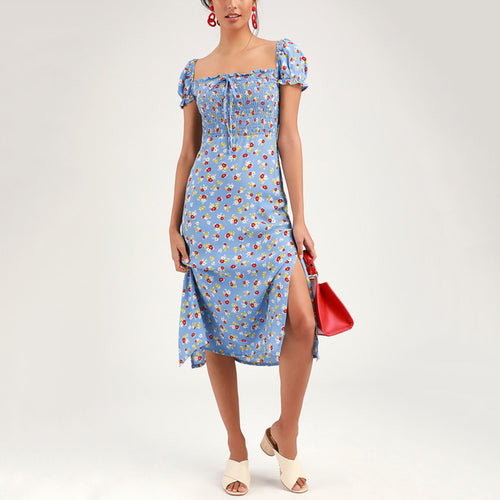 Casual Sleeved Short-Sleeved Romantic Blue Floral Dress