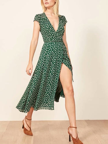 Fashion V-Neck Wave Point Short-Sleeved Dress