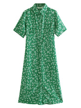 Load image into Gallery viewer, Vintage Ingot Collar Short Sleeve Print Dress