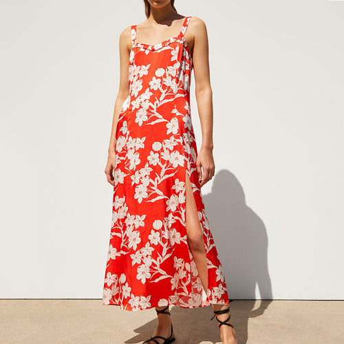 Floral Print Sling Side Split Dress