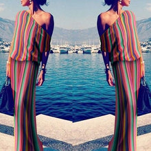 Load image into Gallery viewer, One Shoulder Stripes Plain Maxi Dresses
