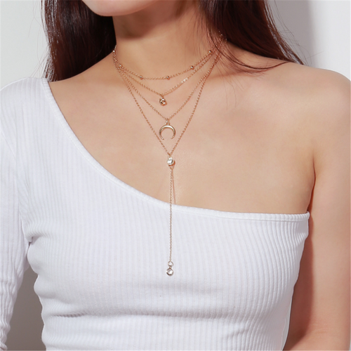 Moon Pendant Rhinestone Sweater Chain