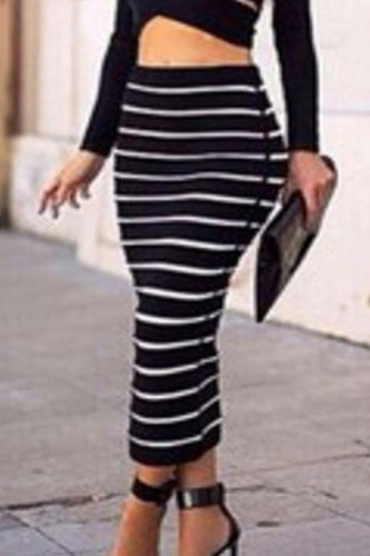 Black Stripe Midi Skirt
