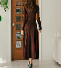 Load image into Gallery viewer, Casual Sexy High Collar Long Style Knitted Sweater Shown Thin Maxi Dress