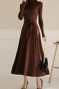Casual Sexy High Collar Long Style Knitted Sweater Shown Thin Maxi Dress