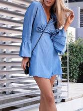 Load image into Gallery viewer, V Collar Flare Sleeve Pure Color Denim Mini Skater Dress