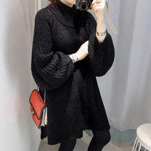 Load image into Gallery viewer, Mid-Length Loose Hooded Lazy Knit Sweater Dress